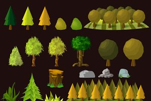 Set of cartoon trees and elements