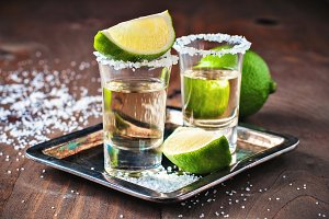 Tequila gold and lime