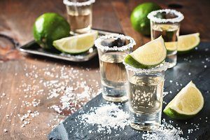 Tequila gold, salt & lime