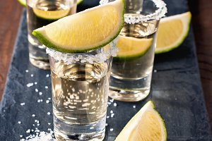 Tequila gold in short glasses