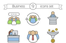 Business color icons set. 9 items