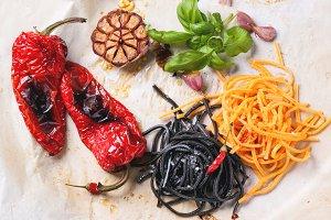 Black and orange spaghetti