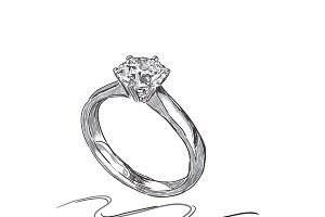 wedding ring, sketch, vector