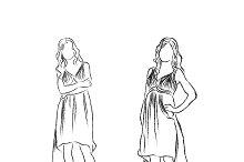 woman, fashion, sketch