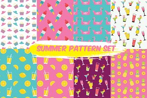 summer seamless pattern set