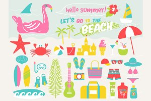 Let's go to the beach illustrations