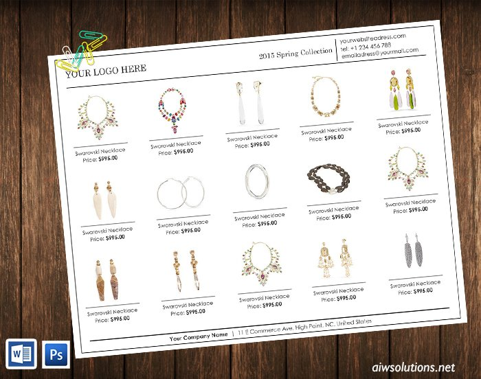 Line Sheet template -ID02 ~ Brochure Templates ~ Creative Market