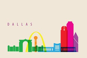 Dallas City Landmarks Illustration