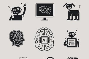 AI, Artificial Intelligence icons