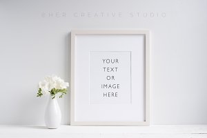 Frame Mockup with White Florals