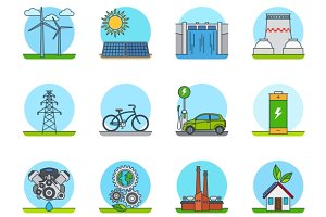 Green energy color line icons