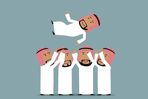 Arab businessmen throwing leader up