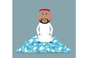Wealthy cartoon arab businessman
