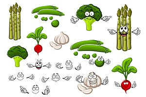 Healthful cartoon fresh veggies