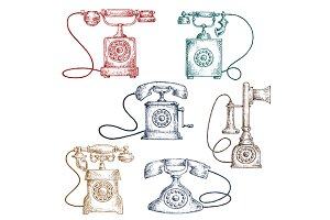 Vintage corded telephones sketches