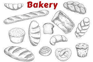 Bakery and pastry products sketches