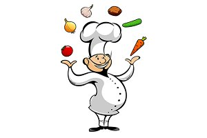 Chef juggling by vegetables