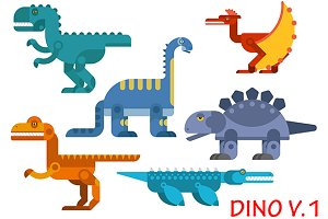 Colorful prehistoric dinosaurs