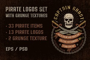 Pirate logos set with grunge
