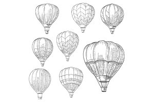 Hot air balloons in flight