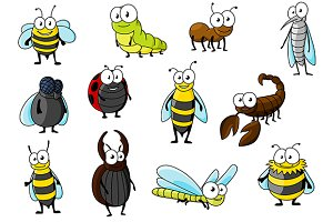 Cartoon smiling insect characters