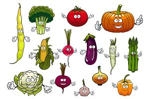 Farm cartoon ripe vegetables