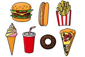 Fast food snacks, drink and desserts