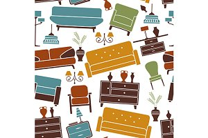 Seamless pattern of home furniture