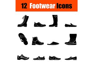 Set of man's footwear icons
