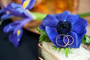 Wedding decor with blue anemones