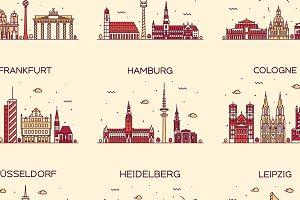 Set of 9 German cities skylines