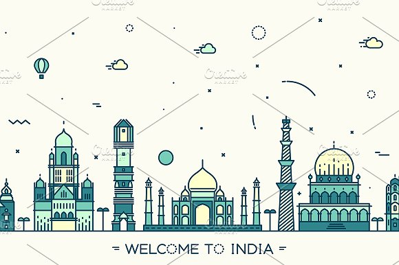 Skyline of India in Illustrations