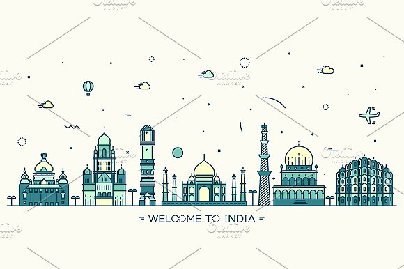 Skyline of India in Illustrations - product preview 1