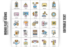 Flat Retail Commerce Vector Icons