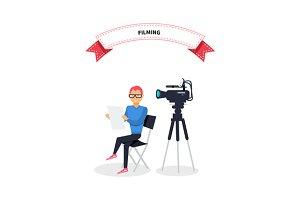 Filming Producer Man Design Flat