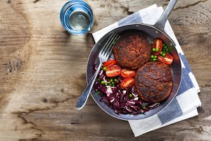 cutlets from legumes. with salad