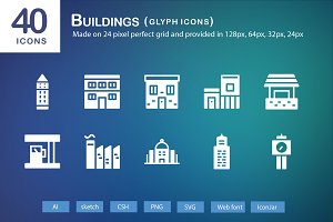 40 Buildings Glyph Icons