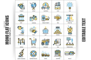 Flat Banking, Finance Vector Icons