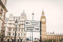 Trafalgar Square and Lambeth Bridge Street Sign, London, England, UK