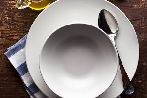 A set of plates on the table