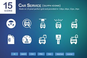 15 Car Service Glyph Icons