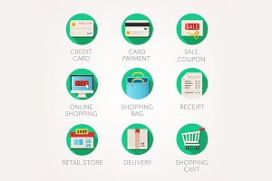 Modern flat shopping icons set