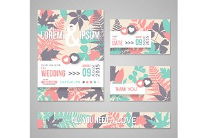 Wedding cards leaves