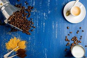 Espresso cup, cream, arabika beans