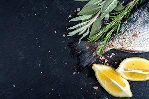 Tail of fresh raw sea bream fish
