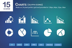 15 Charts Glyph Icons