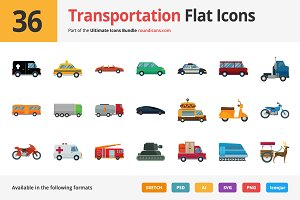 36 Transportation Flat Icons