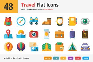 48 Travel Flat Icons