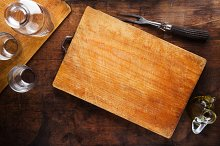 cutting board on vintage wooden