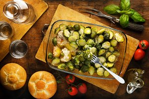 sprouts roasted with potatoes